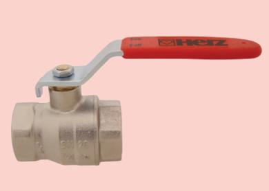 Шаровой кран никелированый HERZ с рычажной рукояткой (из никелированной стали), PN 25, ВР-ВР  - фото