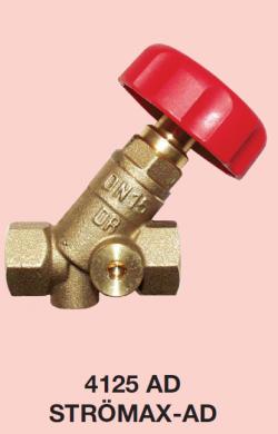 Запорный клапан HERZ STRÖMAX-АD, с наклонным шпинделем, модель с длинными резьбовыми муфтами и двумя отверстиями  - фото
