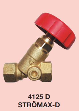Запорный клапан HERZ STRÖMAX-D, с наклонным шпинделем, модель с длинными резьбовыми муфтами  - фото