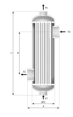 Теплообменник кожухотрубный для бассейнов Secespol B45  - фото