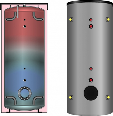 Буферная ёмкость Meibes PSB 200 эмалированная, без змеевиков со съемной теплоизоляцией  - фото