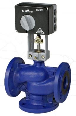 Трехходовой регулирующий клапан LDM RV 113 М,  PN25, Tmax=150°C, DN 15-80 с электроприводом SAX61.03, 24В, 0-10В/4-20мА, 30 сек  - фото